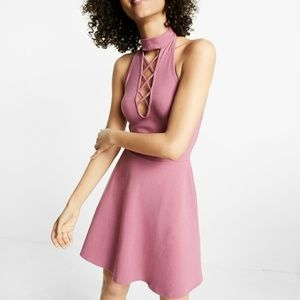 Express | Lace-Up Mock Neck Fit And Flare Dress